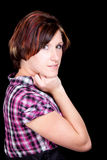 Pretty Girl in a Pink and Black Shirt Stock Photography