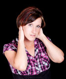 Pretty Girl in a Pink and Black Shirt Royalty Free Stock Image