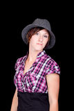 Pretty Girl in a Pink and Black Shirt and a Hat Stock Photos