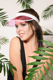 Pretty girl in the pink cap Stock Image