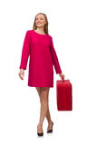 The pretty girl in pink dress holding suitcase isolated on white Royalty Free Stock Photos