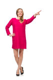 The pretty girl in pink dress isolated on white Stock Photography