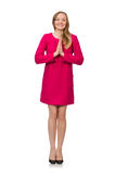 The pretty girl in pink dress isolated on white Royalty Free Stock Photo