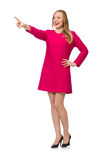 The pretty girl in pink dress isolated on white Royalty Free Stock Image