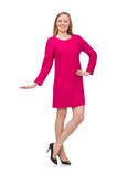 The pretty girl in pink dress isolated on white Stock Images