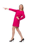 The pretty girl in pink dress isolated on white Royalty Free Stock Photos