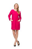 Pretty girl in pink dress isolated on white Royalty Free Stock Images