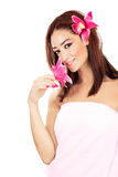 Pretty girl with pink flowers Royalty Free Stock Photos