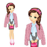 Pretty Girl In Pink Fur Coat. Vector illustration of beautiful teenager girl in a pink fur coat and skirt strict Stock Photography