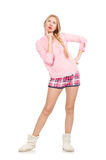 The pretty girl in pink jacket isolated on white Stock Image