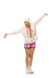 The pretty girl in pink jacket isolated on white Royalty Free Stock Images