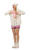 The pretty girl in pink jacket isolated on white Stock Images