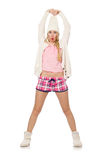 Pretty girl in pink jacket isolated on white Stock Photo