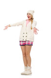 Pretty girl in pink jacket isolated on white Royalty Free Stock Photos