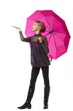 Pretty girl with pink umbrella Stock Photo