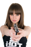 Pretty girl with pistol Stock Images