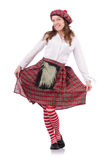 Pretty girl in plaid red clothing isolated on Stock Photos