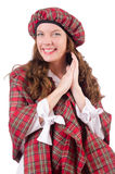 Pretty girl in plaid red clothing isolated on Royalty Free Stock Photo