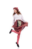 Pretty girl in plaid red clothing isolated on Stock Images