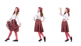 The pretty girl in plaid red clothing isolated on white Royalty Free Stock Photography