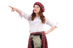 Pretty girl in plaid Scottish clothing isolated on Stock Photo