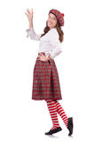 Pretty girl in plaid Scottish clothing isolated on Stock Photos