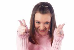 Pretty girl with pointing fingers Stock Photography