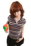 Pretty girl pointing squirt gun Royalty Free Stock Photos
