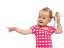 Pretty girl points Stock Photo