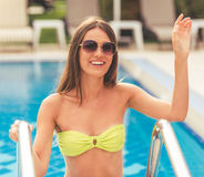 Pretty girl at the pool Royalty Free Stock Photos