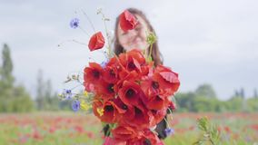 Portrait pretty adorable young woman holding bouquet of flowers in hands looking in the camera standing in a poppy field. Pretty girl in poppy field holding stock video