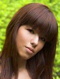 Pretty girl portrait. Portrait of pretty girl with long dark hiar Stock Photo