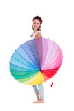 Pretty girl posing with color umbrella on white background Royalty Free Stock Photo