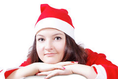 pretty girl posing dressed as Santa Claus Stock Photos