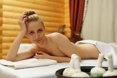 Pretty girl posing before getting thai massage Royalty Free Stock Images