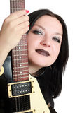 Pretty girl posing with a guitar isolated Stock Photos
