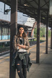 Pretty girl posing in a metro station Stock Photo