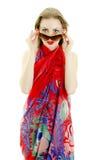 Pretty girl posing in pareo. Royalty Free Stock Photos