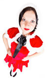 Pretty girl posing in Santa Christmas costume Royalty Free Stock Photo