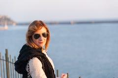 Pretty Girl Posing on the Seaside stock photos