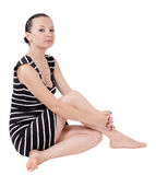 Pretty girl posing sitting isolated Royalty Free Stock Photo