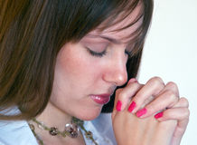 Pretty girl praying 3 Stock Photography