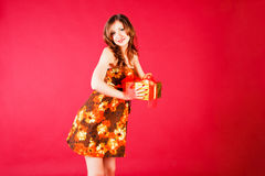 Pretty girl with present Stock Photography