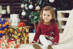 Pretty Girl with Present Boxes Stock Photo