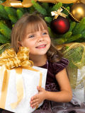 Pretty girl with present near the Cristmas tree Stock Image