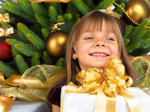 Pretty girl with present near the Cristmas tree Royalty Free Stock Image