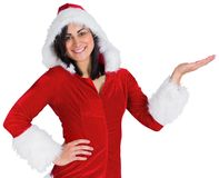 Pretty girl presenting in santa outfit Stock Photos