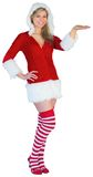Pretty girl presenting in santa outfit Royalty Free Stock Photography