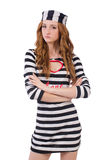 Pretty girl in prisoner uniform isolated on white Royalty Free Stock Image
