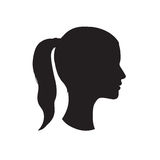 Pretty girl profile. Woman face silhouette. Portrait bride gentle face Royalty Free Stock Photo